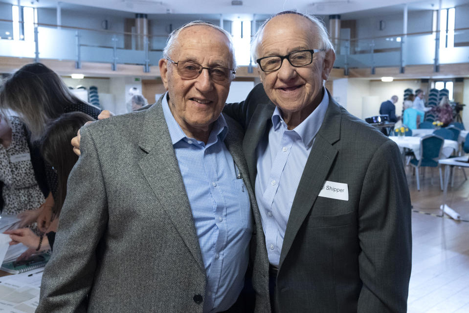 Zigi Shipper and Manfred Goldberg at a Holocaust Educational Trust event in 2019. (Graham Chweidan/Holocaust Educational Trust)