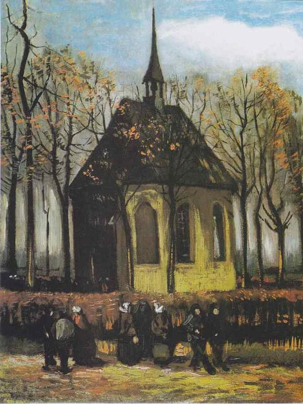 Congregation Leaving the Reformed Church in Nuenen oleh Van Gogh. (Sumber: Wikipedia Commons)