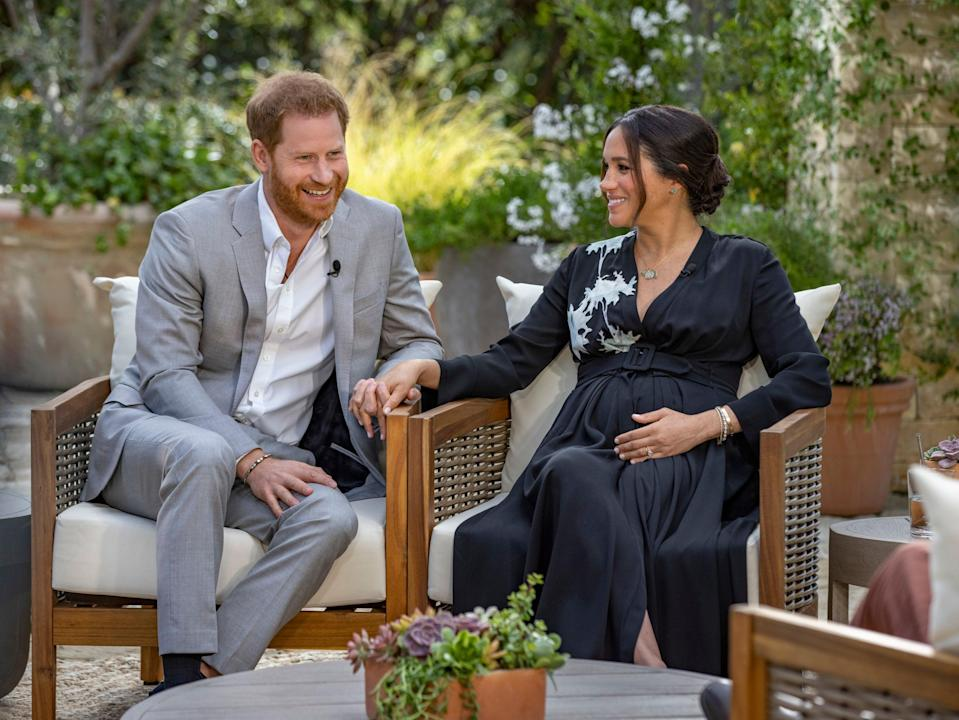 <p>Harry and Meghan speak about  their second child with Oprah Winfrey</p> (AP)