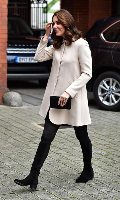 Kate Middleton in a cream Goat coat