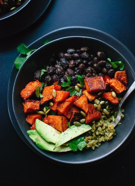 "Flavor your rice with cilantro and jalapeño for these Mexican-inspired burrito bowls. <br> <strong>Get the recipe at </strong><a href=""http://cookieandkate.com/2015/vegan-sweet-potato-green-rice-burrito-bowls/"" rel=""nofollow noopener"" target=""_blank"" data-ylk=""slk:Cookie + Kate"" class=""link rapid-noclick-resp""><strong>Cookie + Kate</strong></a>."