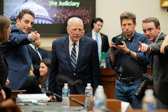 Former White House counsel John Dean is directed to his seat Monday as he arrives for a House Judiciary Committee hearing on the Robert Mueller report. (Photo: Manuel Balce Ceneta/ASSOCIATED PRESS)