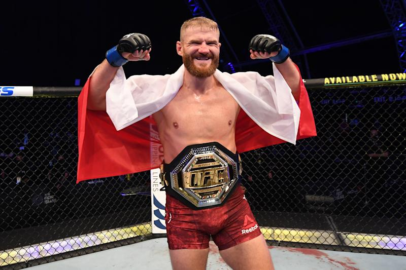 ABU DHABI, UNITED ARAB EMIRATES - SEPTEMBER 27: Jan Blachowicz of Poland celebrates after defeating Dominick Reyes in their light heavyweight championship bout during UFC 253 inside Flash Forum on UFC Fight Island on September 27, 2020 in Abu Dhabi, United Arab Emirates. (Photo by Josh Hedges/Zuffa LLC)