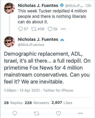 """White nationalist Nick Fuentes is super stoked about Tucker Carlson's embrace of the """"great replacement"""" conspiracy theory. (Photo: Screenshot)"""