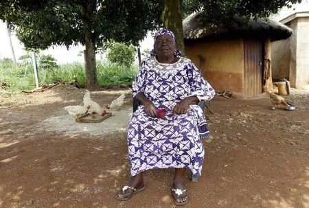 Sarah Hussein Onyango Obama, also known as Mama Sarah, step-grandmother of U.S. President Barack Obama, talks during an interview with Reuters at their ancestral home in Nyangoma village in Kogelo, west of Kenya's capital Nairobi, June 23, 2015. When Barack Obama visits Africa this month, he will be welcomed by a continent that had expected closer attention from a man they claim as their son, a sentiment felt acutely in the Kenyan village where the 44th U.S. president's father is buried. REUTERS/Thomas Mukoya