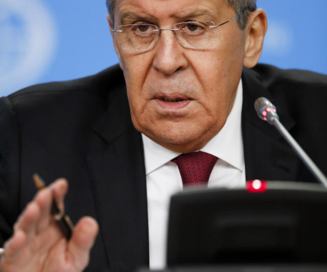Russian Foreign Minister Sergey Lavrov gestures while speaking about his department's 2018 accomplishments during his annual roundup news conference in Moscow, Russia, Wednesday, Jan. 16, 2019. Russia's foreign minister says that the United States has ignored Moscow's proposal to inspect a Russian missile that Washington says has violated a nuclear arms treaty. (AP Photo/Pavel Golovkin)