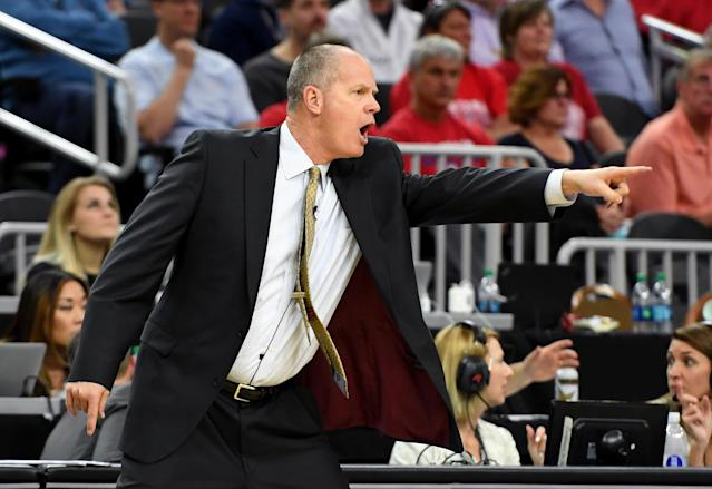 Tad Boyle during a loss to Arizona at the 2017 Pac-12 Tournament. (Getty)
