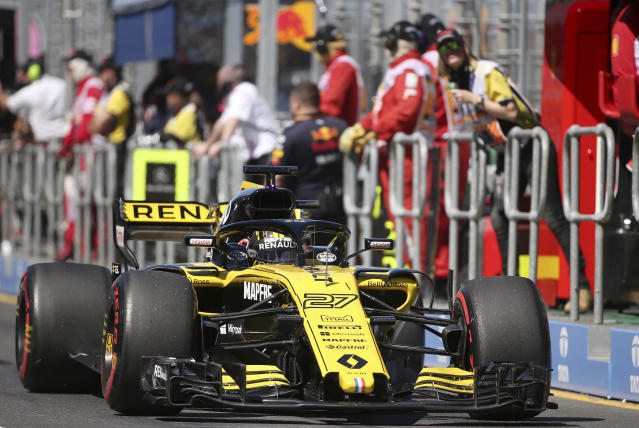 Renault driver Nico Hulkenberg of Germany drives down pit lane during the first practice session at the Australian Formula One Grand Prix in Melbourne, Friday, March 23, 2018. The first race of the 2018 seasons is on Sunday. (AP Photo/Rick Rycroft)