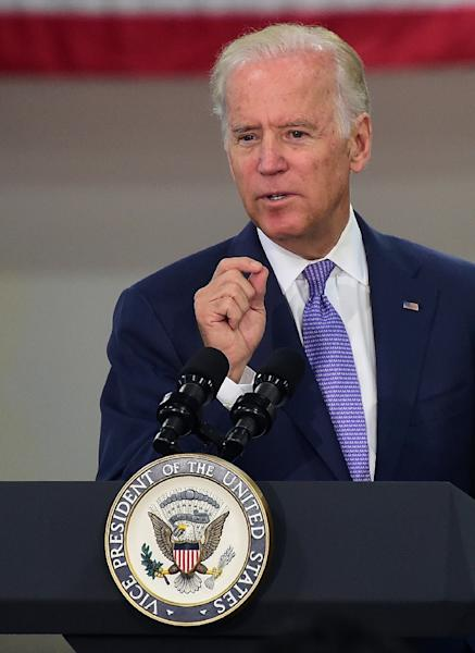 """US Vice President Joe Biden, pictured in Los Angeles on July 22, 2015, """"has the best appeal in general election matchups against top Republicans,"""" Quinnipiac poll assistant director Tim Malloy said (AFP Photo/Frederic J. Brown)"""