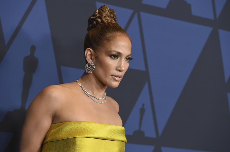 Jennifer Lopez arrives at the Governors Awards on Sunday, Oct. 27, 2019, at the Dolby Ballroom in Los Angeles. (Photo by Jordan Strauss/Invision/AP)