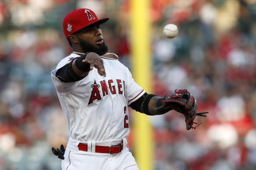 Los Angeles Angels' Luis Rengifo in action against the Detroit Tigers during the first inning.