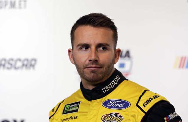"<a class=""link rapid-noclick-resp"" href=""/nascar/nationwide/drivers/2443"" data-ylk=""slk:Matt DiBenedetto"">Matt DiBenedetto</a> during media day for the NASCAR Daytona 500 auto race at Daytona International Speedway, Wednesday, Feb. 14, 2018, in Daytona Beach, Fla. (AP Photo/Terry Renna)"