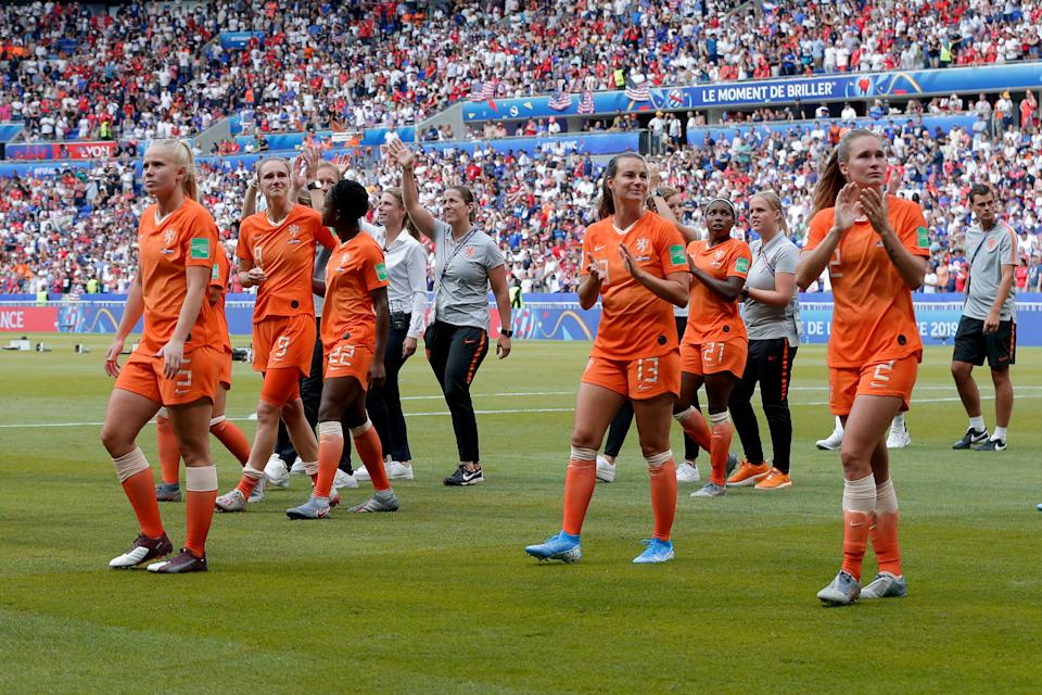 LYON, FRANCE - JULY 7: (L-R) Kika van Es of Holland Women, Renate Jansen of Holland Women, Desiree van Lunteren of Holland Women  during the  World Cup Women  match between USA  v Holland  at the Stade de Lyon on July 7, 2019 in Lyon France (Photo by Eric Verhoeven/Soccrates/Getty Images)