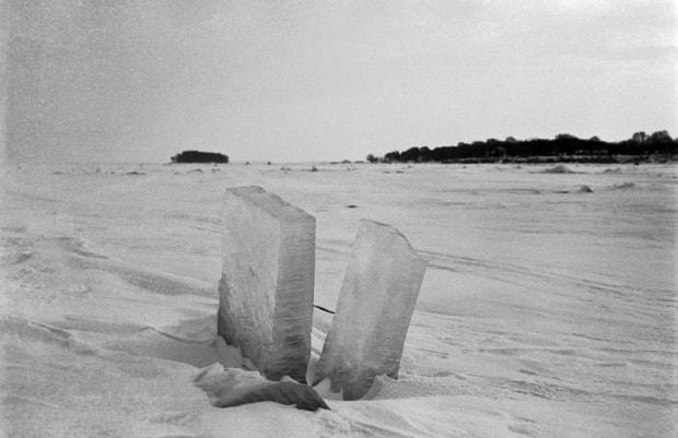 A frozen Lake Erie as photographed by Voelker.