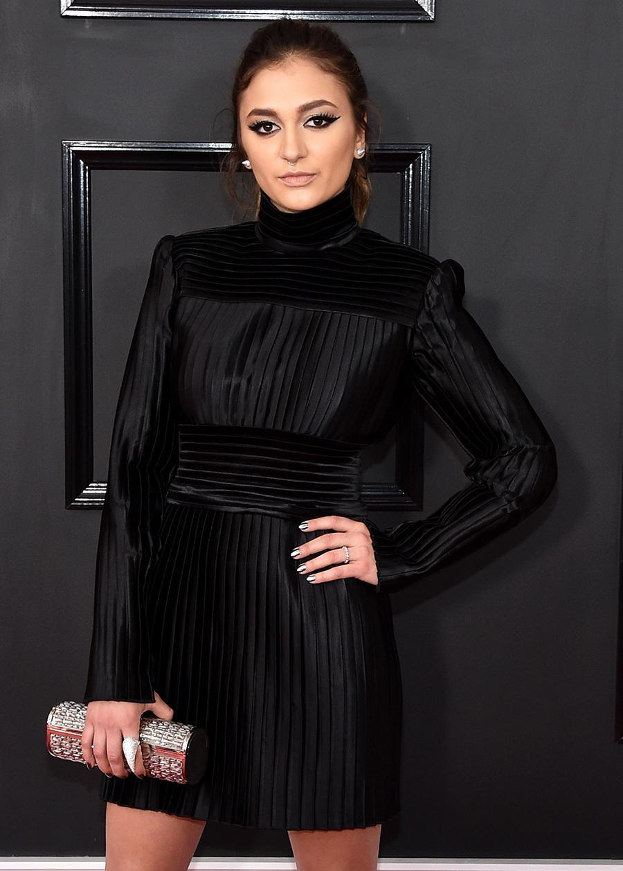 <p>The pop star's cat eye was absolutely prrrr-fect with her little black dress. (Photo: WireImage) </p>