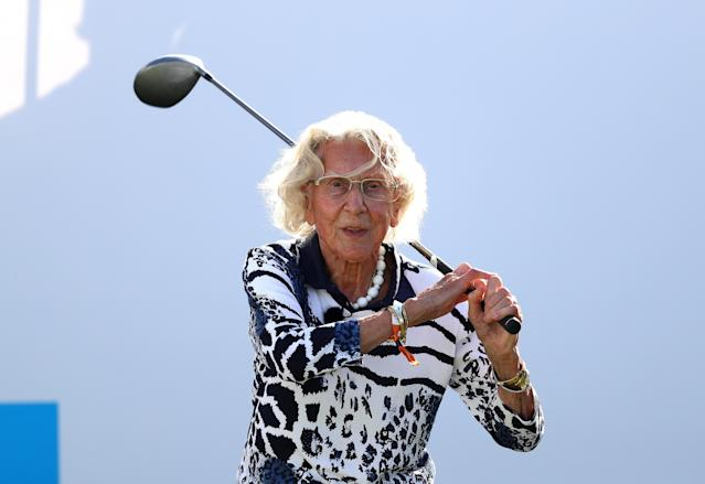 100-year-old Susan Hosang stole the show Thursday at the KLM Open in the Netherlands, holding her own with the European Tour pros. (Dean Mouhtaropoulos/Getty Images)