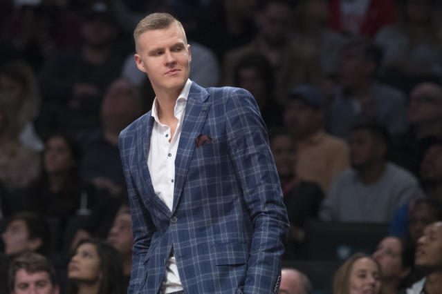 "<a class=""link rapid-noclick-resp"" href=""/nba/players/5464/"" data-ylk=""slk:Kristaps Porzingis"">Kristaps Porzingis</a> is going to Dallas. (AP/Mary Altaffer)"