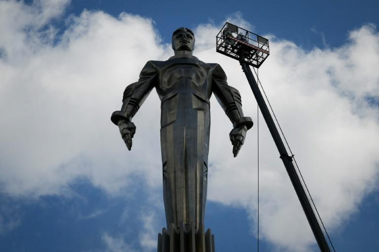 A statue of Gagarin on a pedestal 42.5 metres above the traffic flowing on Moscow's Leninsky Avenue