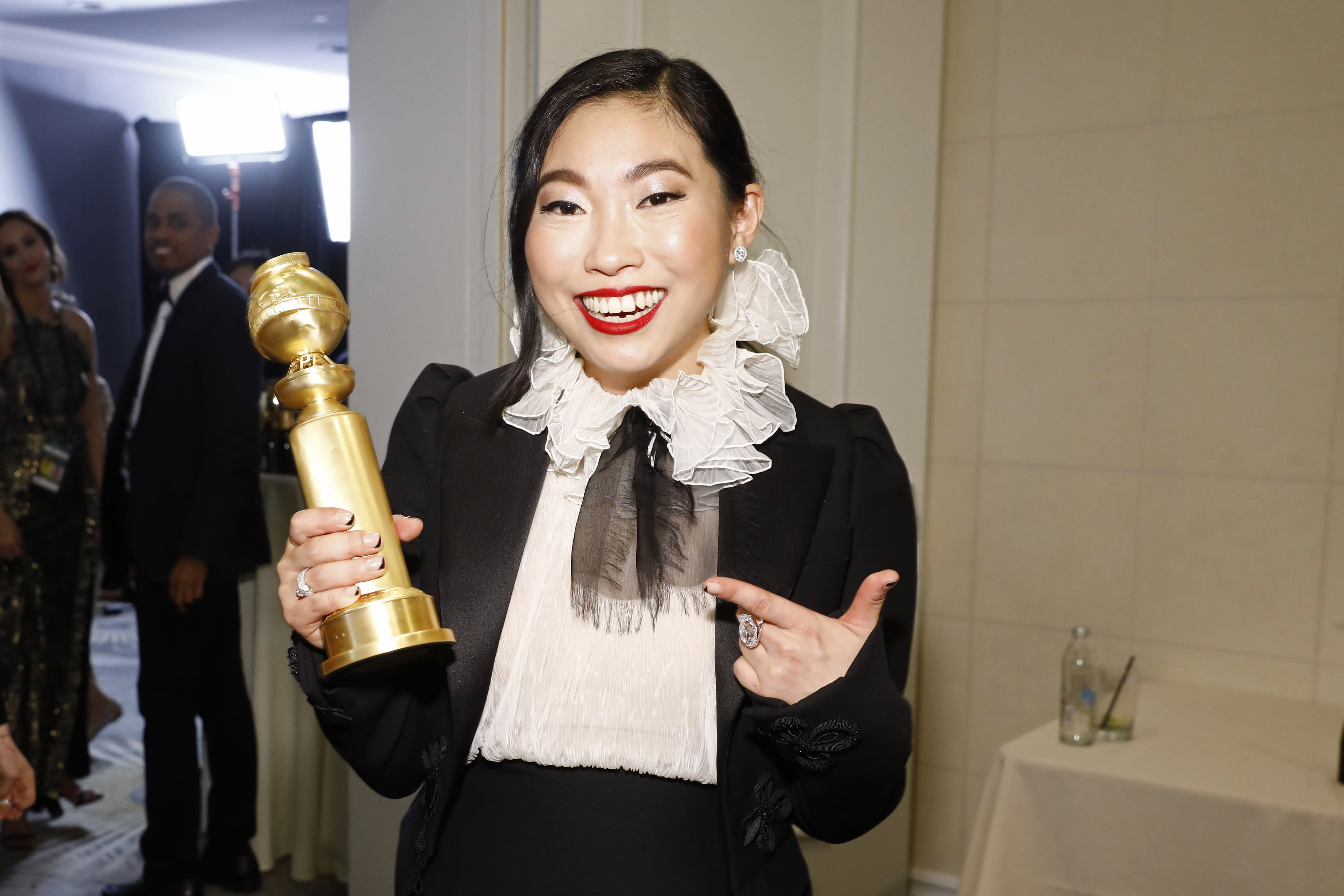 BEVERLY HILLS, CALIFORNIA - JANUARY 05: 77th ANNUAL GOLDEN GLOBE AWARDS -- Pictured: Actress Awkwafina in the press after winning the award for Best Performance by an Actress in a Motion Picture - Musical or Comedy for The Farewell at the 77th Annual Golden Globe Awards held at the Beverly Hilton Hotel on January 5, 2020. -- (Photo by Trae Patton/NBC/NBCU Photo Bank via Getty Images)