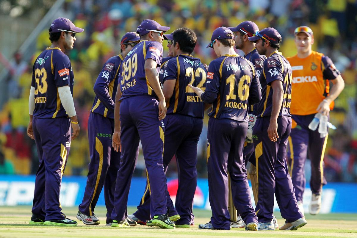 Rajat Bhati (C) celebrates wicket of Wriddhaman Saha during match 38 of the Pepsi Indian Premier League between The Chennai Superkings and the Kolkata Knight Riders held at the MA Chidambaram Stadiumin Chennai on the 28th April 2013. (BCCI)