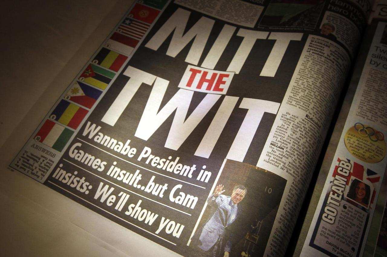 """With the headline """"Mitt the Twit"""", The Sun newspaper criticizes comments regarding the London Olympics made by Republican presidential candidate, former Massachusetts Gov. Mitt Romney, Friday, July 27, 2012, in London. (AP Photo/Charles Dharapak)"""