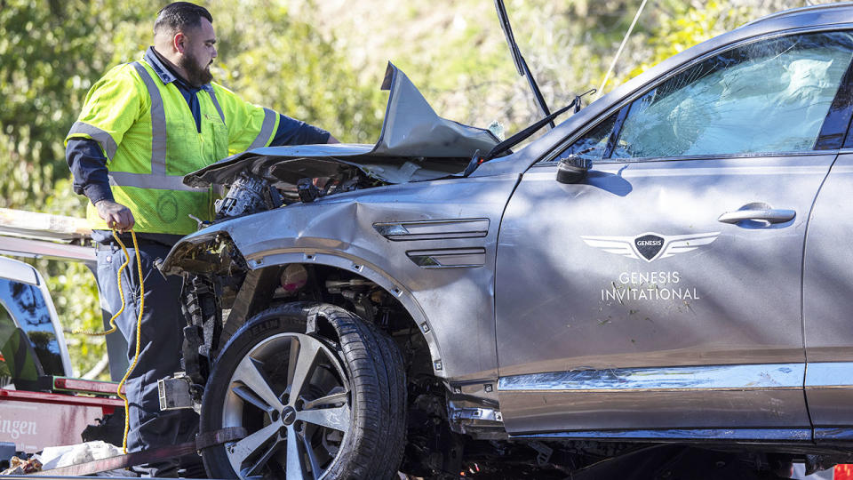 Tiger Woods' car, pictured here after the crash.
