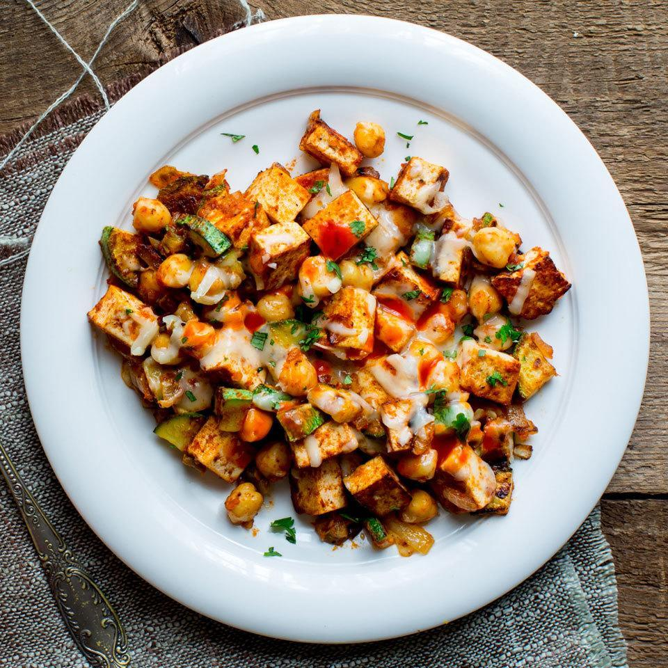 <p>Feel free to customize this speedy tofu and vegetable scramble with your favorite combination of vegetables and spice. Try to use veggies that will all cook at the same rate, like peppers, green beans and sugar snap peas.</p>