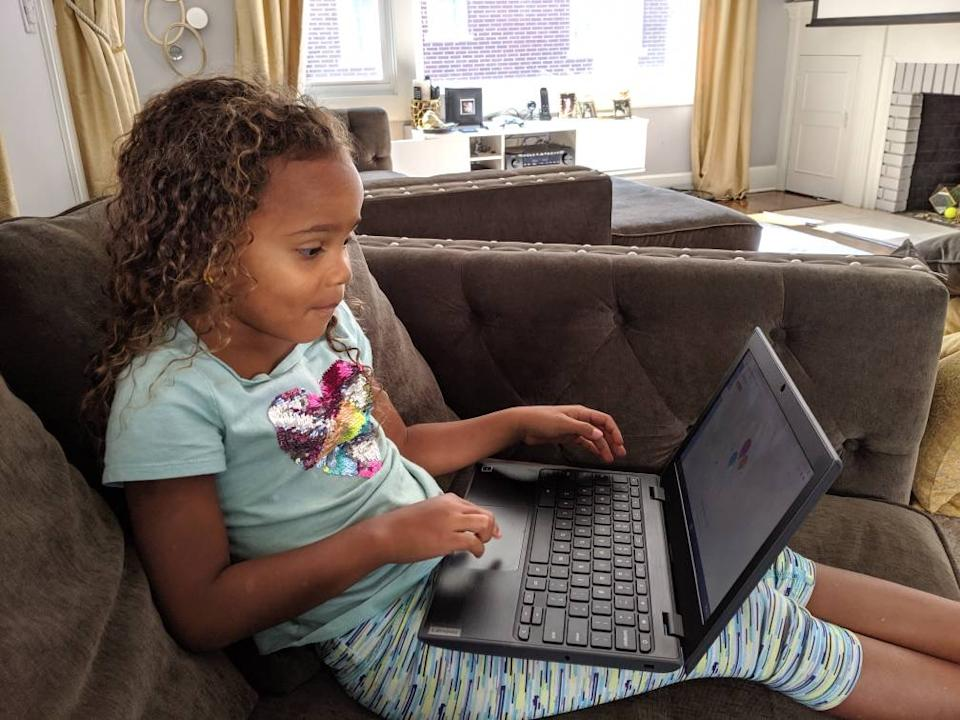 """Nevaeh Allsopp, 5, participates in a virtual kindergarten lesson at her home in South Orange, N.J.<span class=""""copyright"""">Courtesy of Jacquelyn Allsopp</span>"""