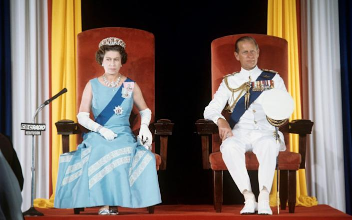 The Queen and Duke of Edinburgh at the State Opening of Parliament in Bridgetown, Barbados, during her Silver Jubilee tour of the Caribbean - PA
