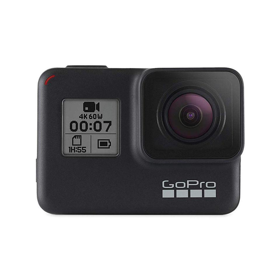 """<p><strong>GoPro</strong></p><p>amazon.com</p><p><strong>$264.99</strong></p><p><a href=""""https://www.amazon.com/dp/B07GDGZCCH?tag=syn-yahoo-20&ascsubtag=%5Bartid%7C2089.g.3486%5Bsrc%7Cyahoo-us"""" rel=""""nofollow noopener"""" target=""""_blank"""" data-ylk=""""slk:Shop Now"""" class=""""link rapid-noclick-resp"""">Shop Now</a></p><p>This is an obvious top-seller and the <a href=""""https://www.bestproducts.com/tech/gadgets/a15077458/reviews-of-action-cameras-camcorders/"""" rel=""""nofollow noopener"""" target=""""_blank"""" data-ylk=""""slk:best action camera"""" class=""""link rapid-noclick-resp"""">best action camera</a> you can buy. It has excellent video quality and amazing image stabilization for those super adventurous trips.</p>"""