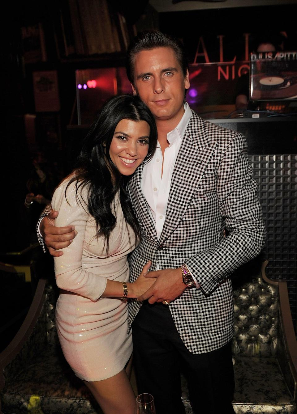 "<p>Kourtney's longest relationship to date was with Scott. <a href=""https://www.cosmopolitan.com/uk/entertainment/a9967027/scott-disick-and-kourtney-kardashian-a-timeline-of-their-relationship/"" class=""link rapid-noclick-resp"" rel=""nofollow noopener"" target=""_blank"" data-ylk=""slk:The two first met"">The two first met</a> in 2006 after being introduced at a house party by Joe Francis, and <a href=""https://www.popsugar.com/celebrity/Kourtney-Kardashian-Sofia-Richie-Mexico-Pictures-2018-45627603"" class=""link rapid-noclick-resp"" rel=""nofollow noopener"" target=""_blank"" data-ylk=""slk:they dated on and off"">they dated on and off</a> until 2017. Though they are no longer together, the pair are committed to coparenting <a href=""https://www.popsugar.com/celebrity/Kourtney-Kardashian-Cutest-Family-Photos-39107019"" class=""link rapid-noclick-resp"" rel=""nofollow noopener"" target=""_blank"" data-ylk=""slk:their three children"">their three children</a>, 11-year-old son Mason, 8-year-old daughter Penelope, and 6-year-old son Reign.</p>"