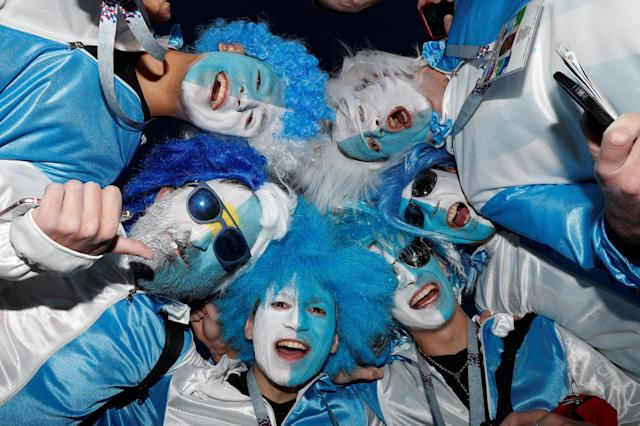 Soccer Football - World Cup - Group D - Argentina vs Croatia - Nizhny Novgorod Stadium, Nizhny Novgorod, Russia - June 21, 2018 Argentina fans with face paint before the match REUTERS/Matthew Childs TPX IMAGES OF THE DAY