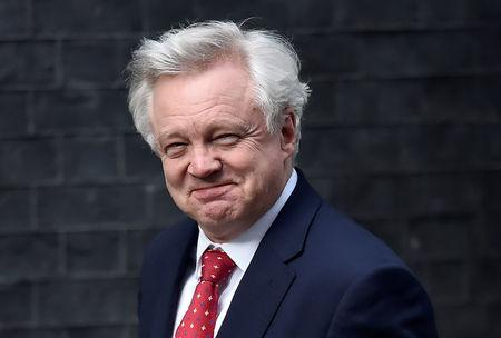 Britain's Secretary of State for leaving the EU David Davis  arrives at 10 Downing Street in London