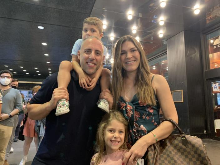 """<div class=""""inline-image__caption""""><p>Adam Padilla, with Xavier on his shoulders, wife Willow, and daughter Rose.</p></div> <div class=""""inline-image__credit"""">Tim Teeman</div>"""