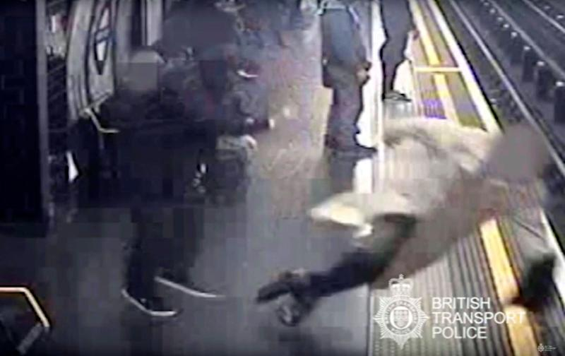CCTV issued by British Transport Police showing Robert Malpas being pushed on to the tracks of Marble Arch Underground station in London by Paul Crossley