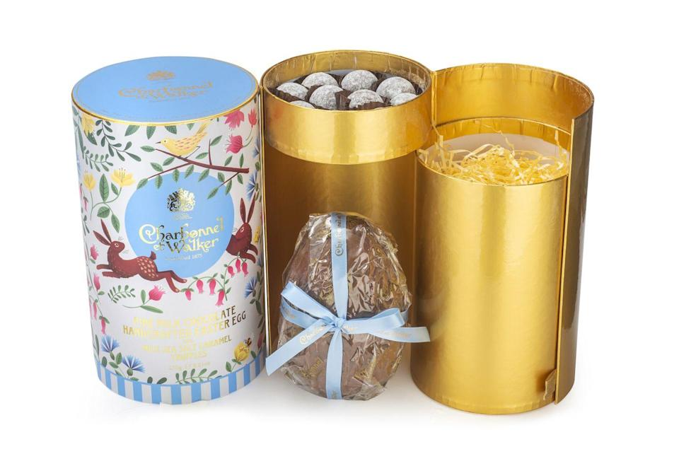 "<p>You cannot go wrong with a Charbonnel et Walker truffle. These little pom-pom balls of chocolatey joy are heaven wrapped up in a shiny ribboned box. In fact, Edward VII and all the Royals in between have been fans of the brand. Expect an artisanal egg crowned by a powdery nest of decadent chocolate. </p><p>£30, <a href=""https://charbonnel.co.uk/"" rel=""nofollow noopener"" target=""_blank"" data-ylk=""slk:Charbonnel et Walker"" class=""link rapid-noclick-resp"">Charbonnel et Walker</a>.</p><p><a class=""link rapid-noclick-resp"" href=""https://charbonnel.co.uk/"" rel=""nofollow noopener"" target=""_blank"" data-ylk=""slk:SHOP NOW"">SHOP NOW</a><br></p>"