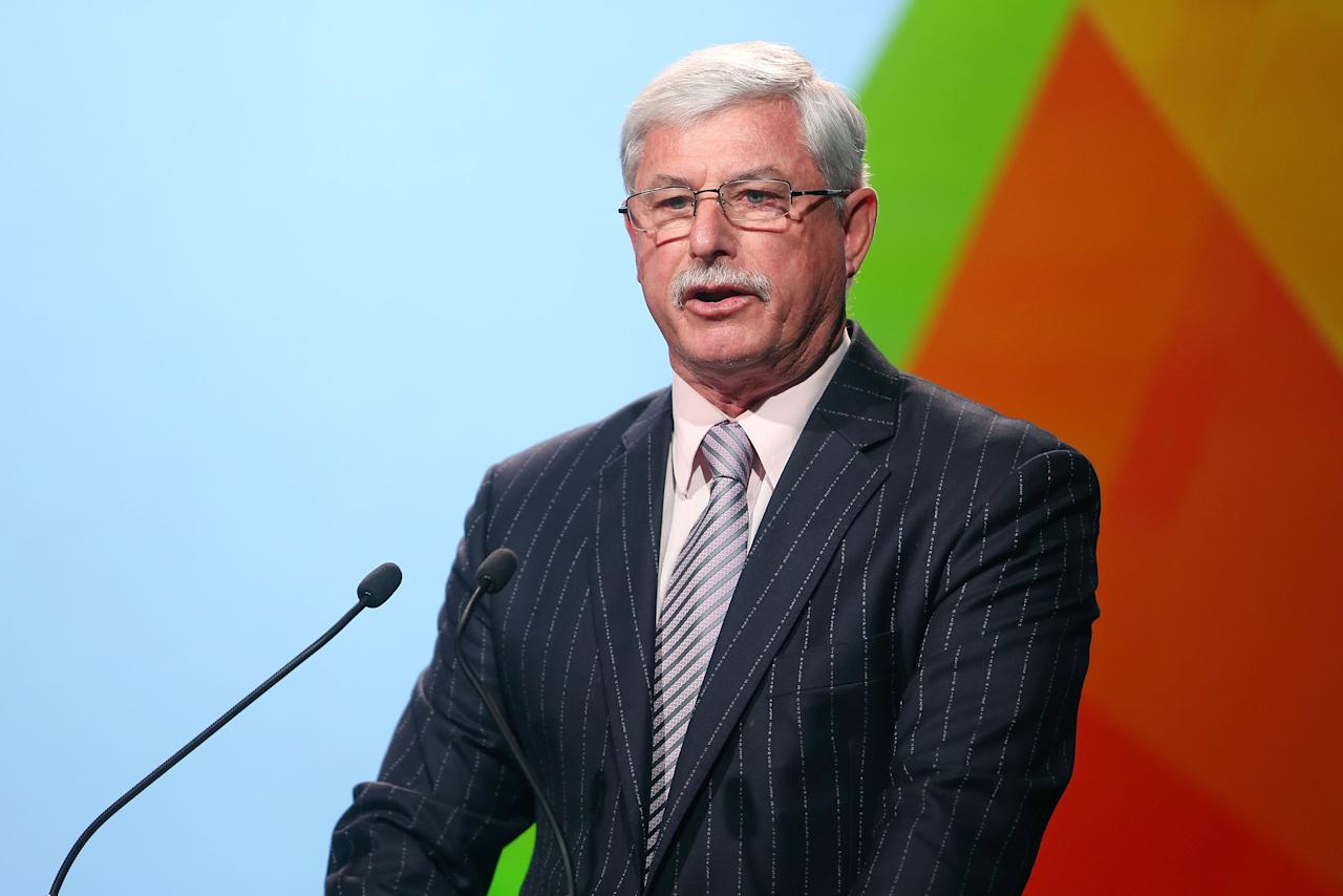 WELLINGTON, NEW ZEALAND - JULY 30:  Sir Richard Hadlee speaks during the official launch of the ICC Cricket World Cup 2015 on July 30, 2013 in Wellington, New Zealand.  (Photo by Hagen Hopkins/Getty Images for ICC)