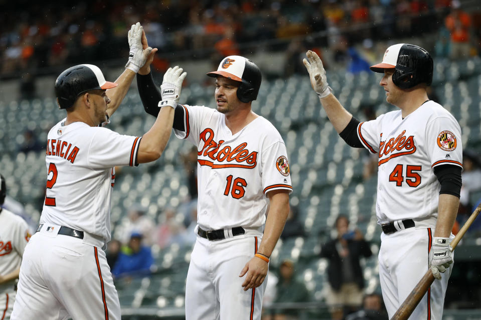 Baltimore Orioles' Danny Valencia, left, high-fives teammates Trey Mancini (16) and Mark Trumbo after driving in Mancini with a two-run home run during the first inning of a baseball game against the Seattle Mariners, Wednesday, June 27, 2018, in Baltimore. (AP Photo/Patrick Semansky)