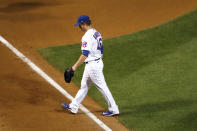 Chicago Cubs relief pitcher Craig Kimbrel, leaves the game during the ninth inning of a baseball game against the Kansas City Royals Tuesday, Aug. 4, 2020, in Chicago. The Cubs won 5-4. (AP Photo/Charles Rex Arbogast)