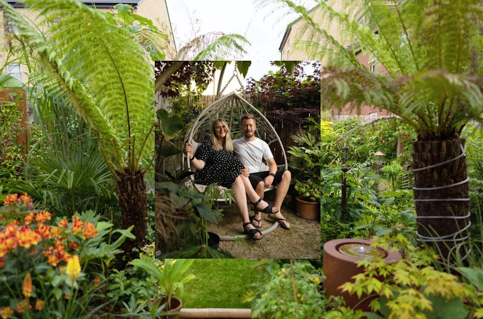 A couple have transformed the garden of their new build home into a tropical paradise inspired by their holiday to Thailand. (Caters)