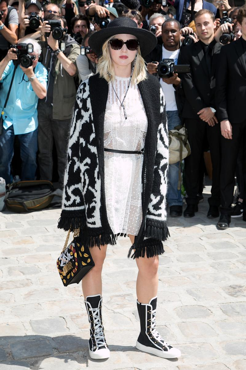 Jennifer Lawrence attends the Christian Dior Haute Couture Fall/Winter 2017-2018 show as part of Paris Fashion Week on July 3, 2017 in Paris, France.