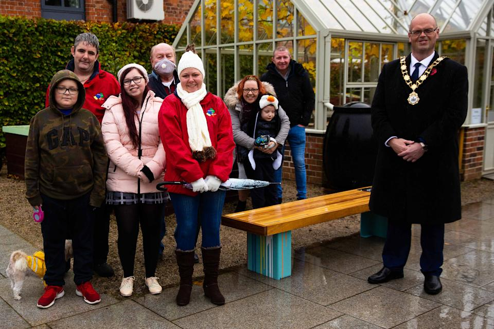 Christina and family with the Mayor of Antrim and Newtownabbey Jim Montgomery (Picture: Storybeat)