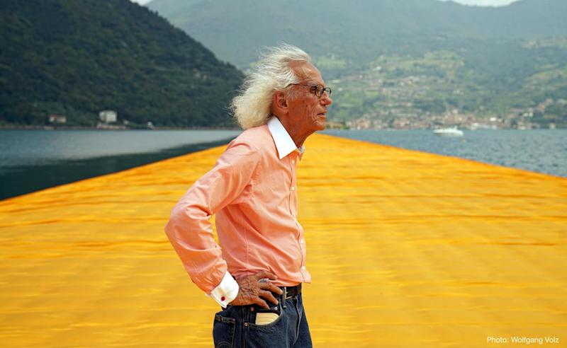 Iconic installation artist Christo, who passed away late last month.