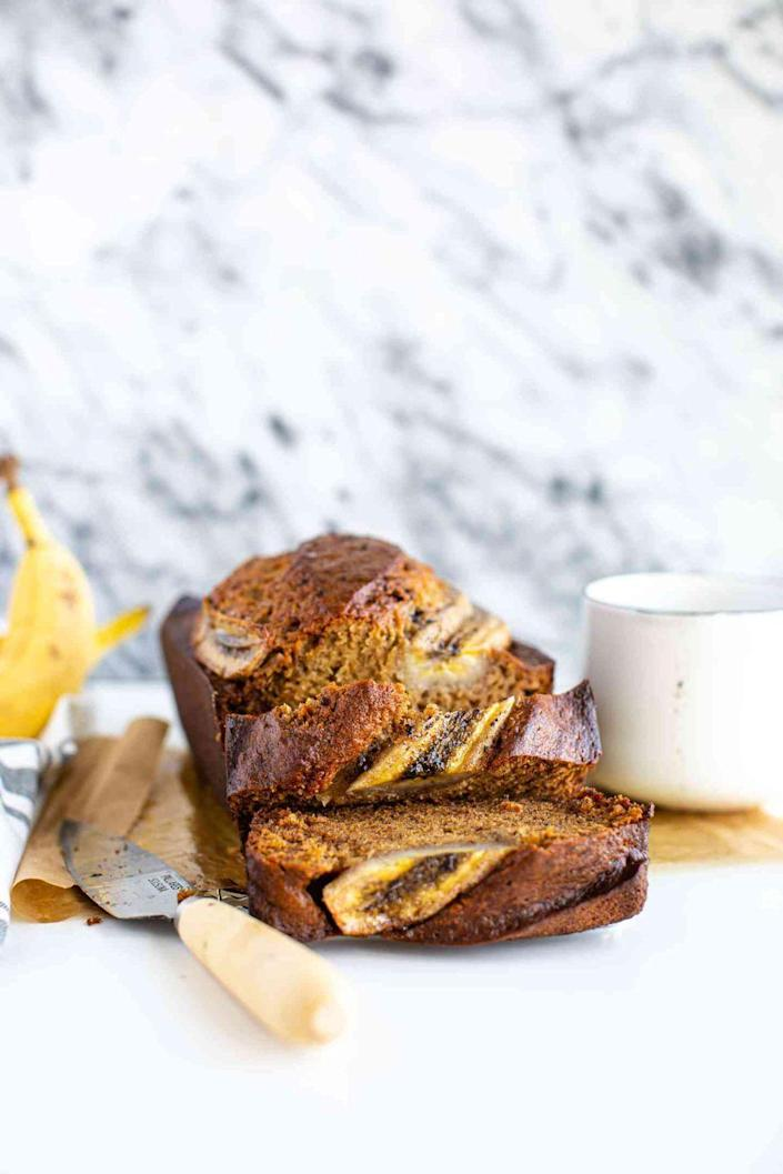 """<p>Ready to take the banana bread up a notch? Rich, dark brown sugar adds a ton of caramel notes.</p><p><strong>Get the recipe at <a href=""""https://www.butterbeready.com/brown-sugar-banana-bread/"""" rel=""""nofollow noopener"""" target=""""_blank"""" data-ylk=""""slk:Butter Be Ready"""" class=""""link rapid-noclick-resp"""">Butter Be Ready</a>.</strong></p><p><a class=""""link rapid-noclick-resp"""" href=""""https://www.amazon.com/USA-Pan-1140LF-Bakeware-Aluminized/dp/B0029JQEIC/?tag=syn-yahoo-20&ascsubtag=%5Bartid%7C10050.g.35246097%5Bsrc%7Cyahoo-us"""" rel=""""nofollow noopener"""" target=""""_blank"""" data-ylk=""""slk:SHOP LOAF PANS"""">SHOP LOAF PANS</a><br></p>"""