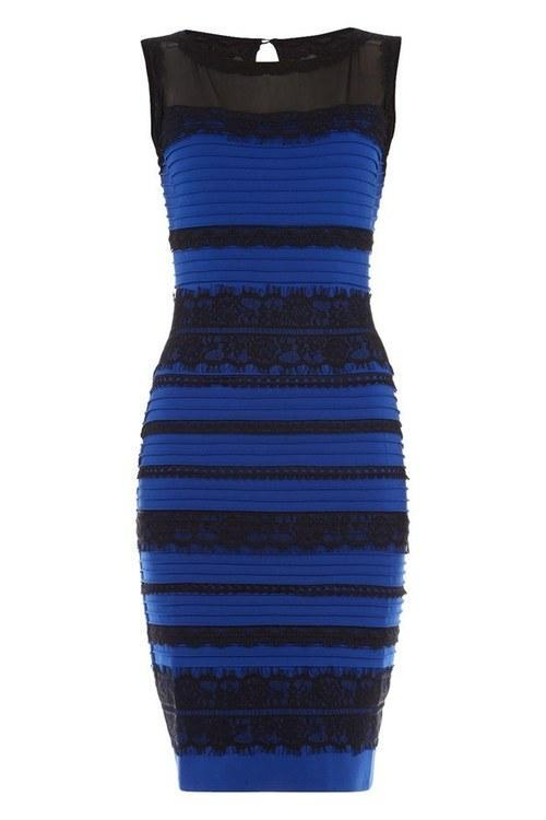What is gold and blue dress