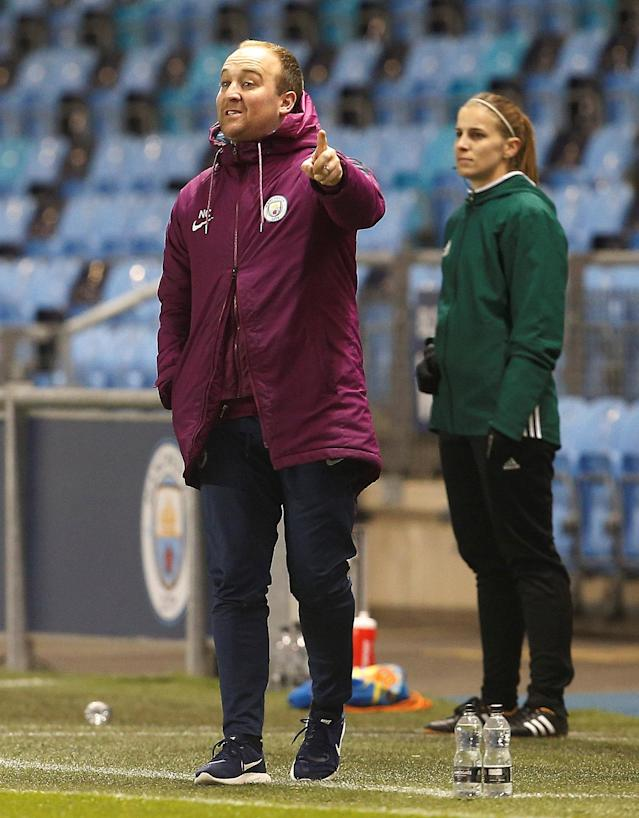 Soccer Football - Women's Champions League Quarter Final First Leg - Manchester City vs Linkoping - Academy Stadium, Manchester, Britain - March 21, 2018 Manchester City Manager Nick Cushing Action Images via Reuters/Craig Brough