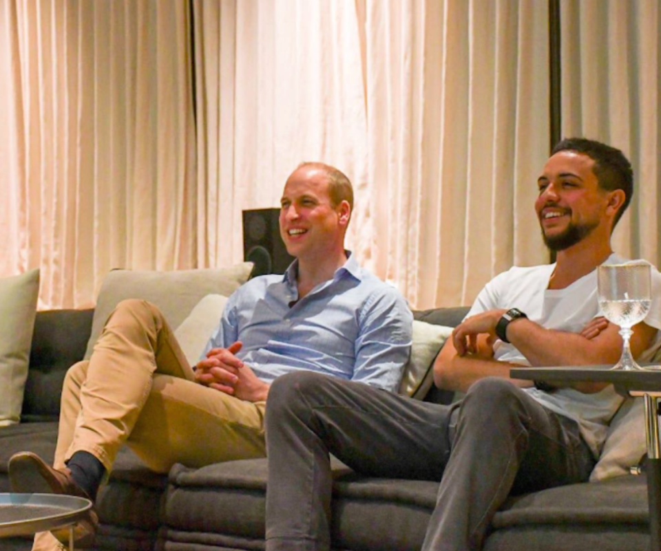 The Duke of Cambridge and Crown Prince Hussein enjoy the football (Picture: Kensington Palace)