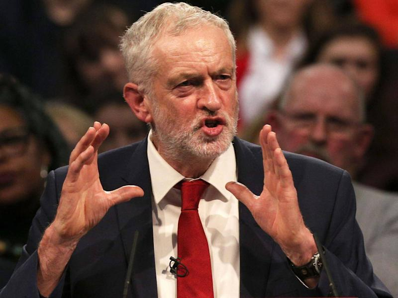 Labour leader Jeremy Corbyn giving a speech to supporters in November (PA)