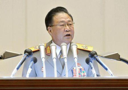 North Korean Vice Marshal Choe Ryong Hae, representing the country's army, delivers a speech at a memorial service in Pyongyang