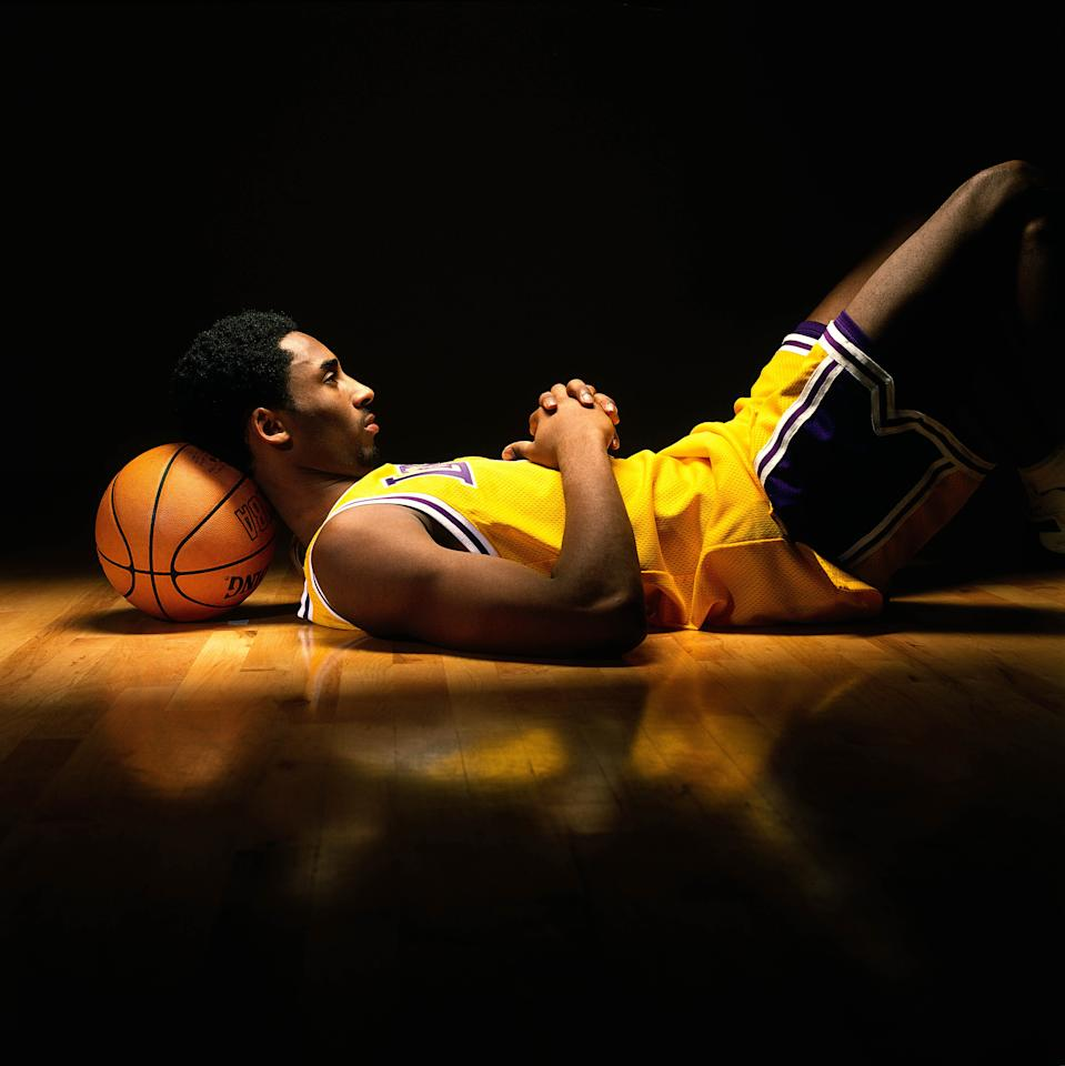 """Kobe Bryant was in high demand in 1998, gracing the pages of countless magazines, including the late """"Inside Sport Magazine,"""" for which this iconic shot was taken by photographer Jon SooHoo. (Jon SooHoo/NBAE via Getty Images)"""